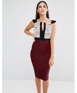 Vesper | Платье-Футляр С Кружевом На Лифе И Разрезом