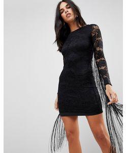 FOREVER UNIQUE   Кружевное Платье С Бахромой