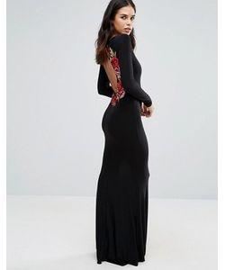 Club L | Платье Макси С Длинными Рукавами И Вышивкой Цветов Сзади