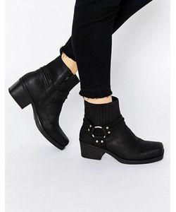 Vagabond | Черные Кожаные Байкерские Ботинки С Ремешками Ariana