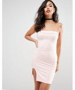 Asos | Облегающее Платье Мини Без Бретелей С Разрезом
