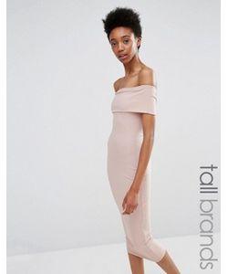 Missguided Tall | Облегающее Платье В Рубчик С Широким Вырезом