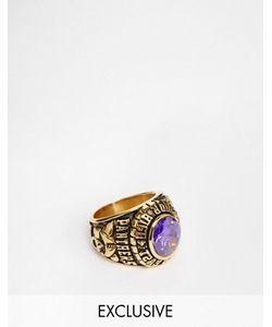 Reclaimed Vintage | Кольцо В Университетском Стиле С Фиолетовым Камнем