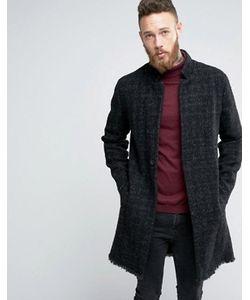 Asos | Серое Фактурное Пальто С Необработанным Краем