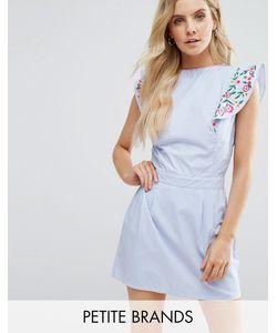 Boohoo Petite | Короткое Приталенное Платье С Вышивкой На Оборках