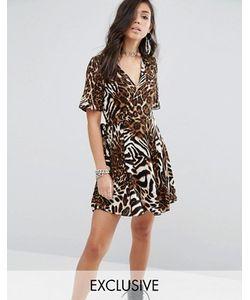 Milk It | Платье С Запахом И Абстрактным Леопардовым Принтом
