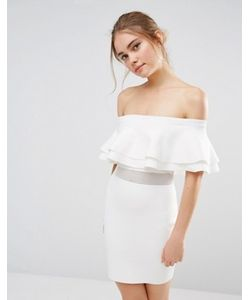 Endless Rose | Вязаное Платье Мини В Рубчик С Сетчатой Вставкой