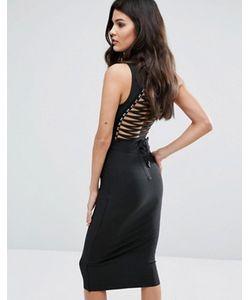 WOW Couture | Бандажное Платье Миди С Высокой Горловиной И Шнуровкой Сзади