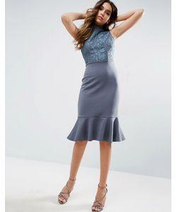 Club L | Платье Миди С Высокой Горловиной И Баской