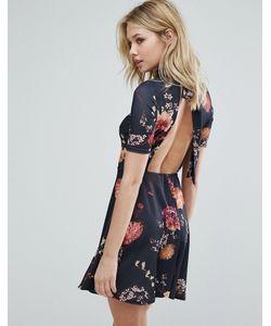 Oh My Love | Чайное Платье С Цветочным Принтом И Открытой Спиной
