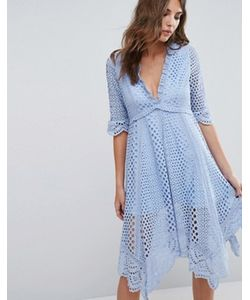 Foxiedox   Платье Асимметричного Кроя С Люверсами Periwinkle