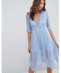 Foxiedox | Платье Асимметричного Кроя С Люверсами Periwinkle