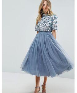 Asos   Платье Миди Из Тюля С Декорированным Кроп-Топом