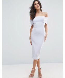 Asos | Облегающее Платье Миди С Открытыми Плечами