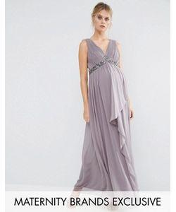 Little Mistress Maternity | Платье Макси Для Беременных С Декорированной Талией И Перекрестной Спинкой Little
