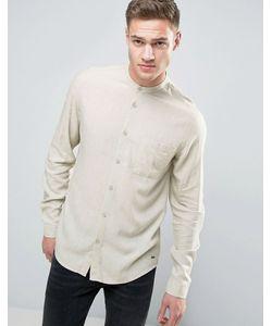 Solid   Длинная Рубашка Классического Кроя С Добавлением Льна И Воротником На Пуговице