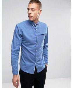 Lindbergh | Темно-Синяя Узкая Меланжевая Рубашка