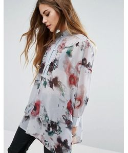 Religion | Прозрачная Рубашка Без Воротника С Цветочным Принтом