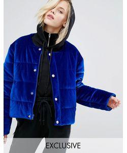 Puffa | Бархатная Дутая Оversize-Куртка Без Воротника