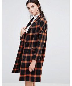 Helene Berman | Черно-Оранжевое Пальто В Клетку Ema