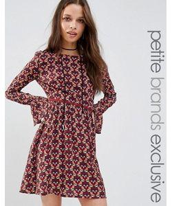 Glamorous Petite | Короткое Приталенное Платье С Длинными Рукавами И Принтом