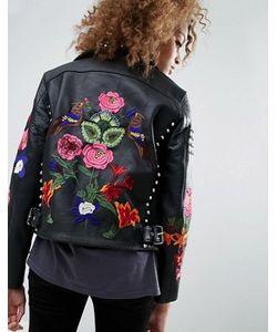 Asos | Кожаная Байкерская Куртка С Цветами И Заклепками Premium