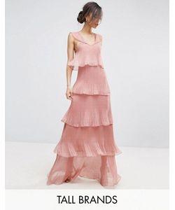 True Decadence Tall | Плиссированное Платье Макси С Многоярусными Рюшами