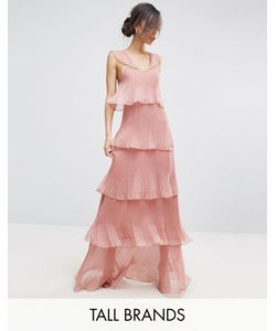True Decadence Tall | Cami Strap Maxi Dress With Ruffle Laye Pleated