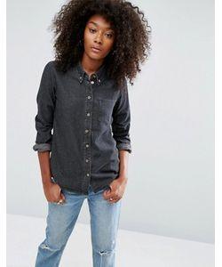 Asos | Черная Выбеленная Джинсовая Рубашка
