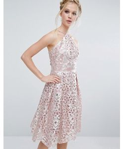 Chi Chi London | Платье Миди Цвета Металлик С Вырезами
