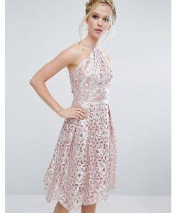Chi Chi London   Платье Миди Цвета Металлик С Вырезами