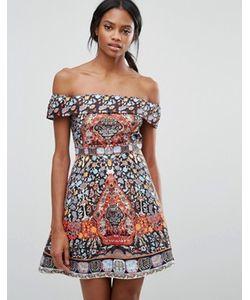 Comino Couture | Платье Мини С Широким Вырезом Отворотом И Принтом