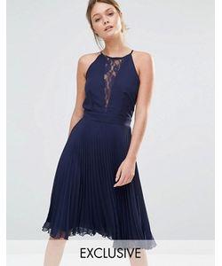 Elise Ryan | Плиссированное Платье Миди С Кружевной Вставкой