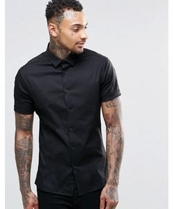 Asos | Черная Зауженная Рубашка С Короткими Рукавами