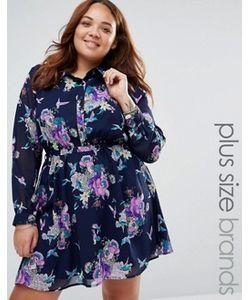 Yumi Plus   Короткое Приталенное Платье-Рубашка С Цветочным Принтом
