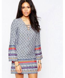 Diya | Цельнокройное Платье С Шнуровкой Спереди И Рукавами Колокол