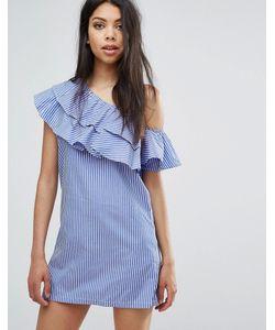 boohoo | Цельнокройное Платье На Одно Плечо С Оборками