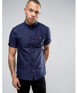 Lyle&Scott | Темно-Синяя Оксфордская Рубашка Классического Кроя С Короткими Рукавами Lyle Scott