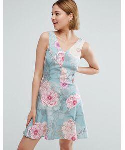 Closet London | Короткое Приталенное Платье С Цветочным Принтом
