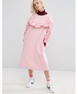 STYLE NANDA   Свободное Платье С Рюшами Stylenanda
