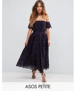 ASOS PETITE | Off The Shoulder Lace Prom Midi Dress