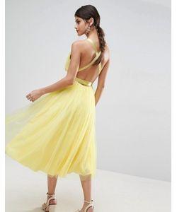 Asos | Платье Миди Для Выпускного Из Тюля С Лентой Premium