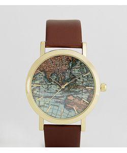Reclaimed Vintage | Часы С Принтом Карты И Коричневым Кожаным Ремешком Inspired
