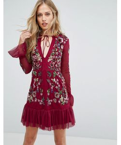 Frock and Frill | Короткое Приталенное Платье С Вышивкой И Оборками