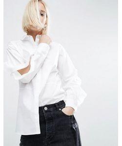 Asos | Хлопковая Рубашка С Разрезами На Рукавах И Оборками