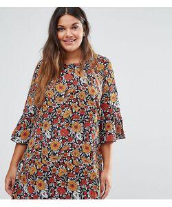 Yumi Plus | Цельнокройное Платье С Рукавами Рюшами И Цветочным Принтом
