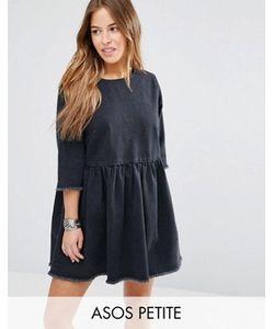 ASOS PETITE | Свободное Джинсовое Платье С Необработанными Краями И Выбеленным Эффектом