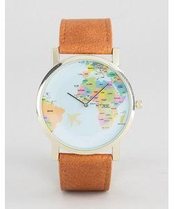 Asos | Часы Со Светло-Коричневым Ремешком И Принтом Географической Карты