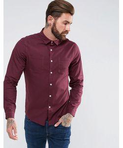 Asos   Бордовая Рубашка Классического Кроя