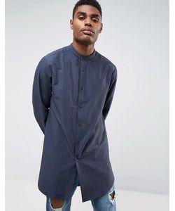 Asos | Темно-Синяя Удлиненная Рубашка Классического Кроя С Воротником На Пуговице